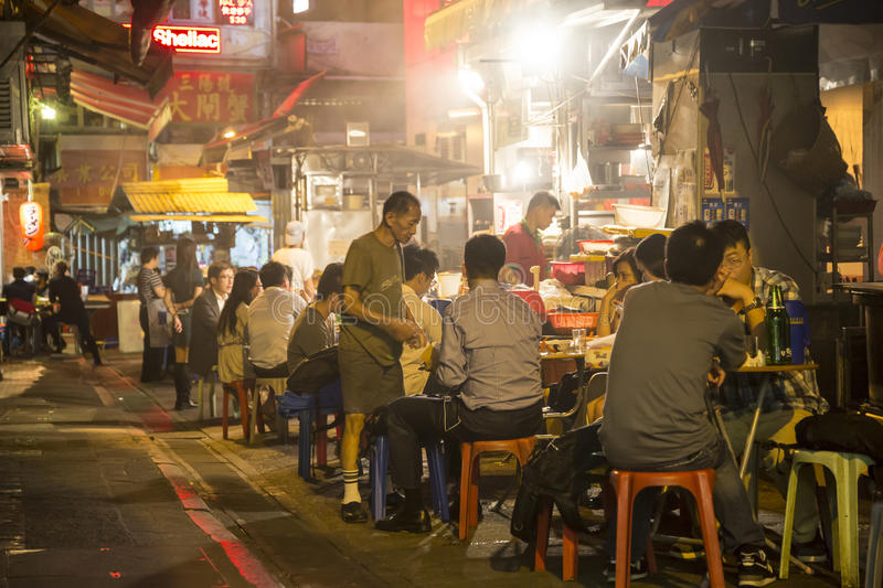 Cooked-food stall in Central, Hong Kong. Cooked-food stall, or called dai pai in Chinese, is a type of open-air food stall once very popular in Hong Kong. It is royalty free stock image