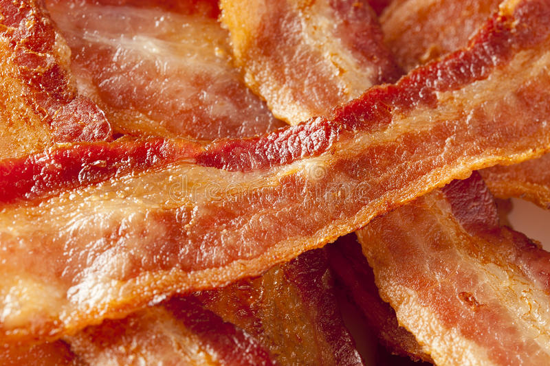 Cooked Greasy Bacon. Against a back ground stock image