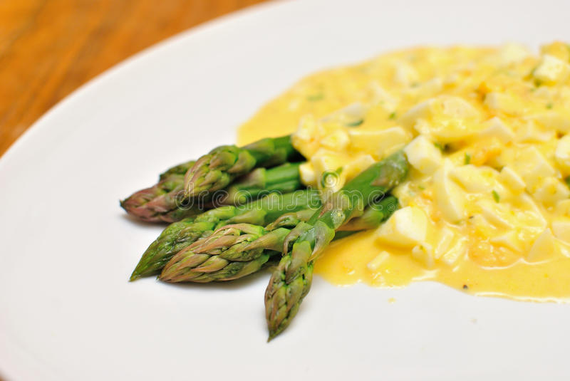 Cooked green asparagus stock photography