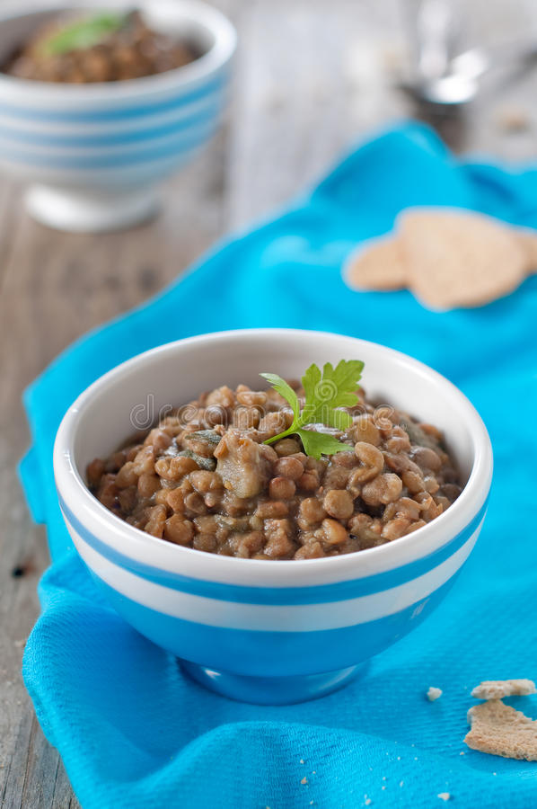 Cooked lentil. Cooked vegetarian lentil with carrot and zucchini, selective focus stock photography