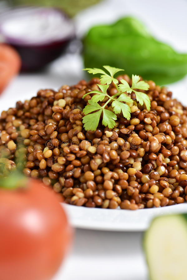 Cooked lentils stock images