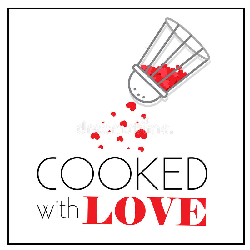 Kitchen Interior Logo: Cooked With Love. Pepper-box Shaker With Little Red Hearts