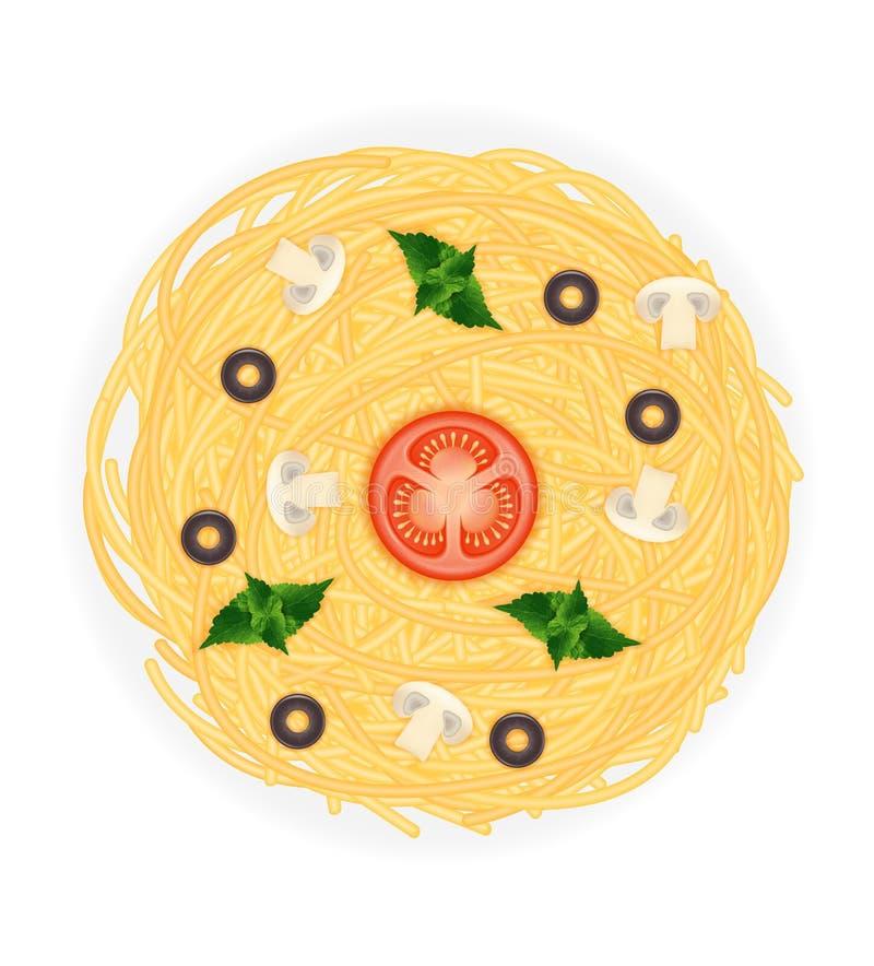 Cooked macaroni pasta spaghetti with vegetables stock vector illustration stock illustration