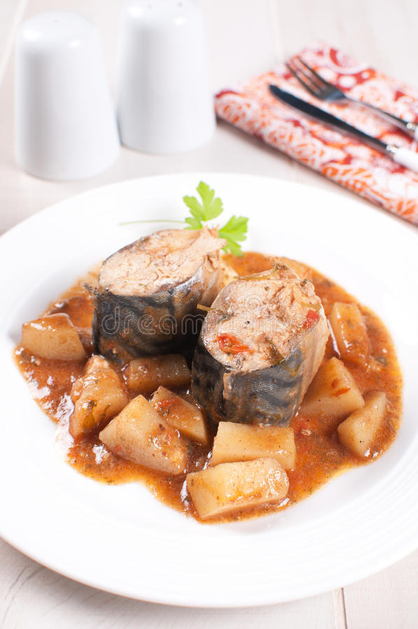 Download Cooked Mackerel With Potato And Tomato Stew Stock Photo - Image: 29862370
