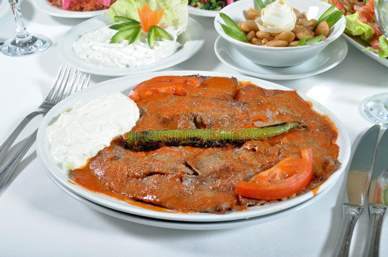 Cooked meat, iskender kebap stock images