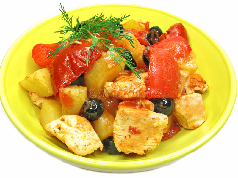 Cooked meat with vegetables. Cooked meat with vegetable in bright plate stock images