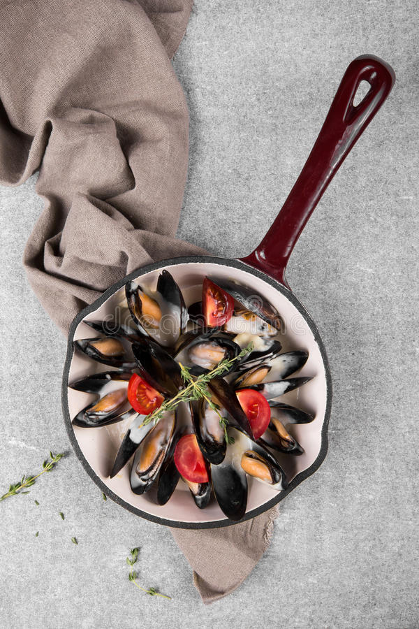 Cooked mussels in a pan served on a napkin garnished with tomatoes and thyme. Steamed mussels in white wine sauce. royalty free stock photography
