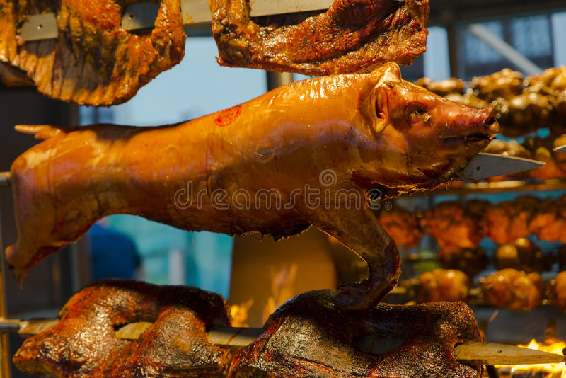 Cooked pork and prepared. On the grill royalty free stock photos