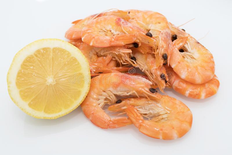 Cooked prawns isolated. In white background stock photography