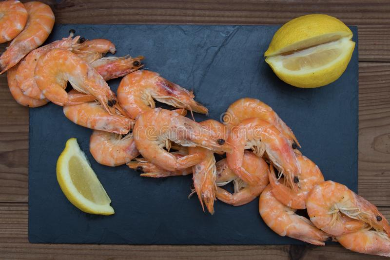 Cooked prawns isolated. In white background royalty free stock photo