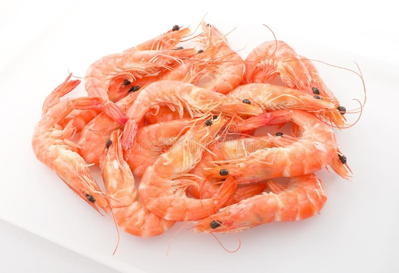 Cooked Prawns or Tiger Shrimps in A Tray. Cuisine and Food, Cooked Prawns or Tiger Shrimps in White Tray royalty free stock photography