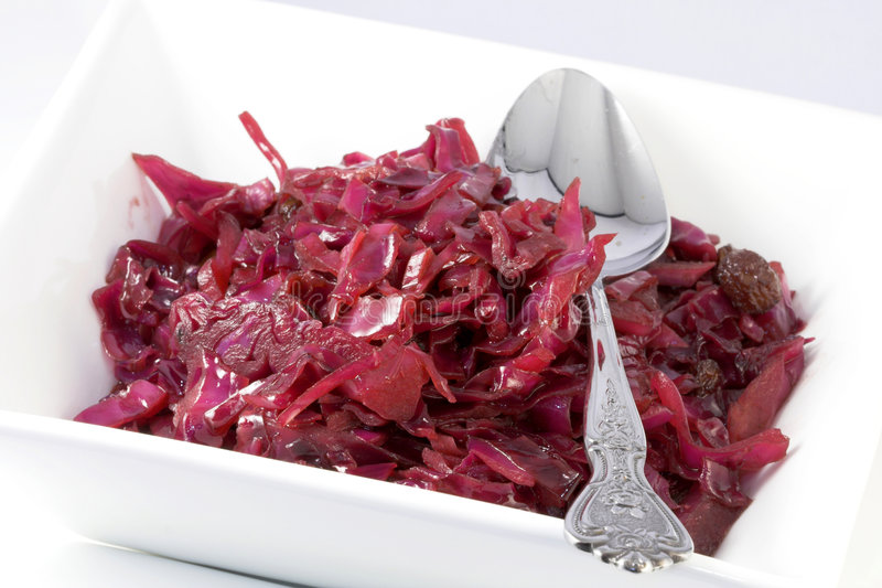 Cooked red cabbage stock images