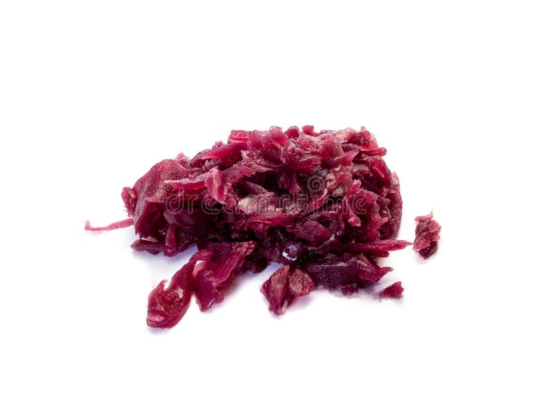 Cooked red cabbage isolated on white background stock photo