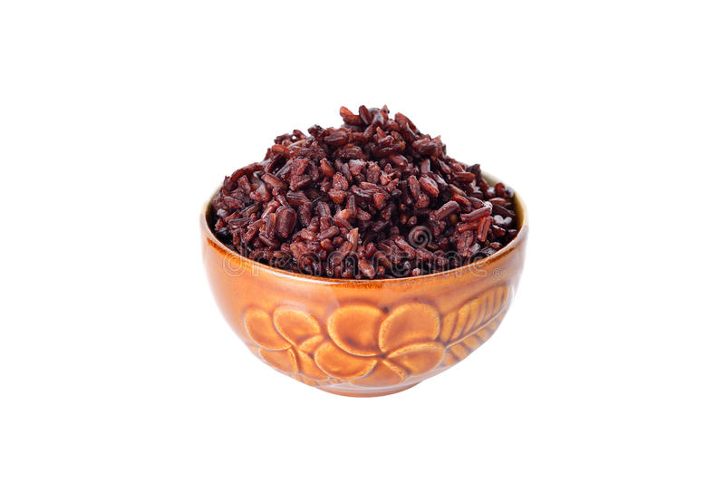 Cooked rice berry organic rice in bowl on white royalty free stock photo