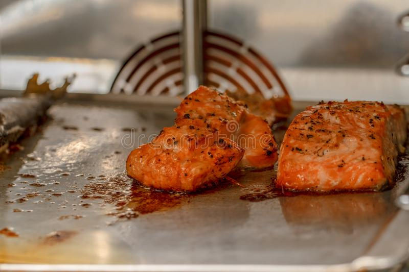Cooked salmon and other fish inside the oven view. Marinated salmon seafood grilling inside the oven, healthy source of omega-3. R stock photography