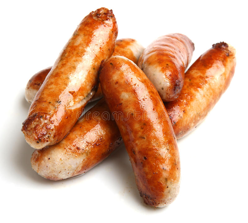 Free Cooked Sausages Isolated On White Royalty Free Stock Photos - 33621628