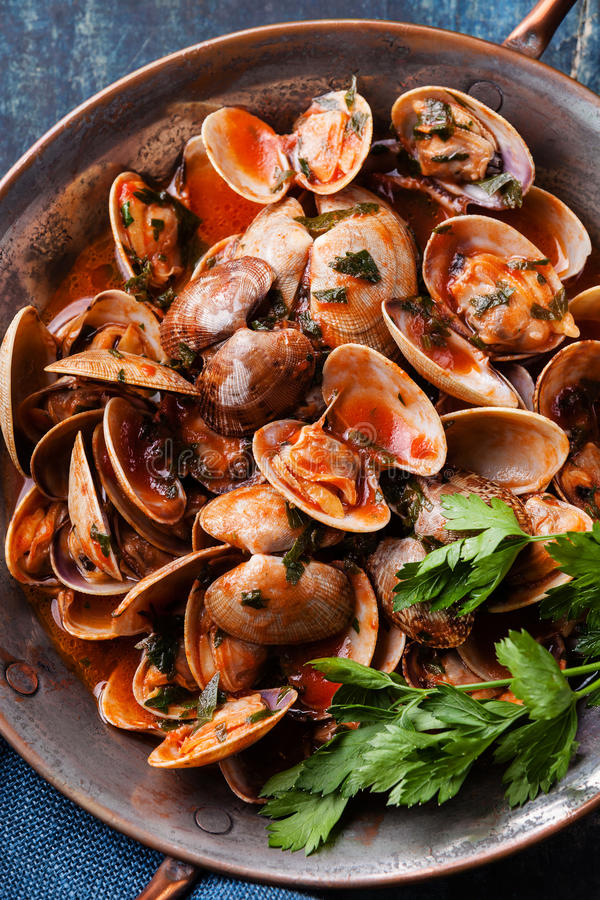 Cooked Shells vongole with parsley and tomato sauce. Close up stock images