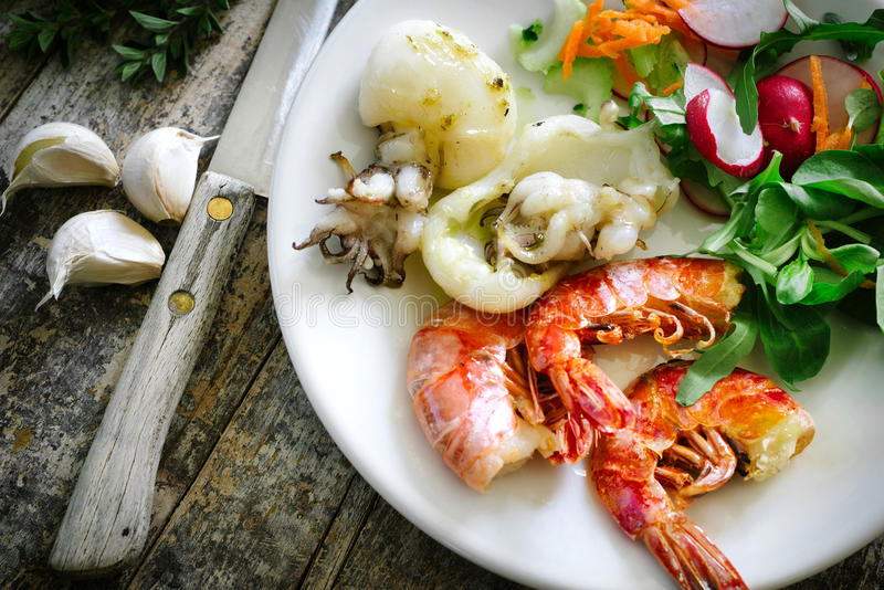 Cooked shrimp and cuttlefish royalty free stock image
