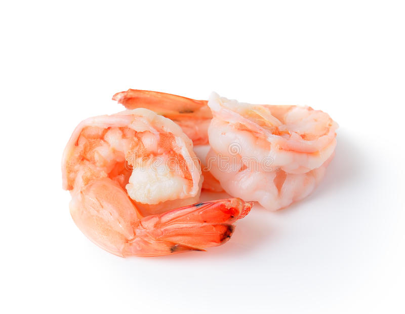 Cooked shrimp isolated on white background. royalty free stock images