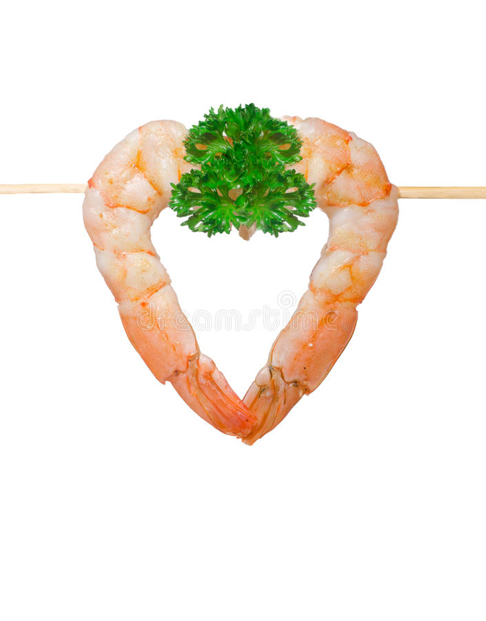 Cooked shrimp on white background. royalty free stock photography