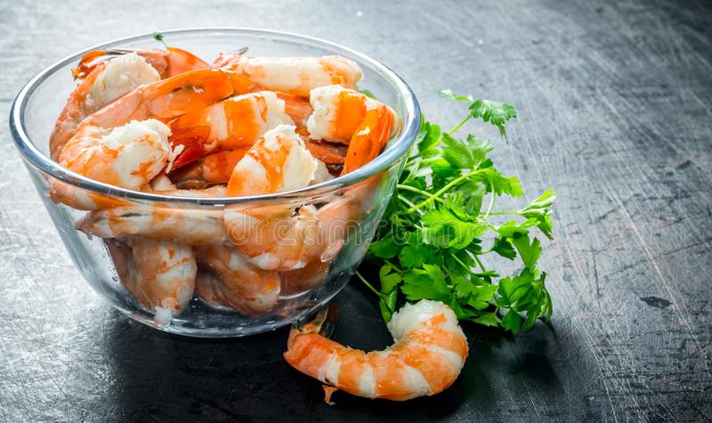 Cooked shrimps in a bowl with greens royalty free stock photo