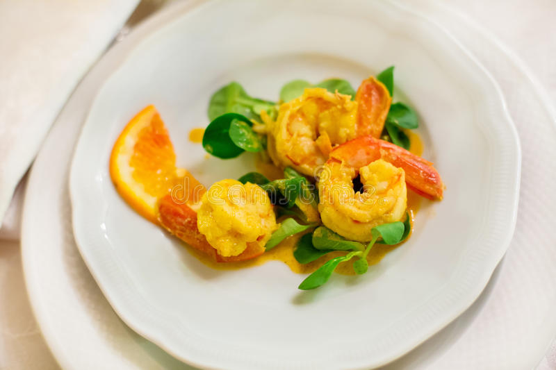 Cooked shrimps royalty free stock image
