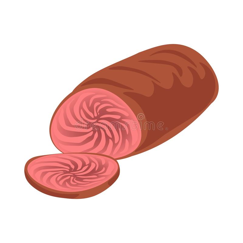Cooked sliced meat. Vector illustration of cooked meat and cut slice on white royalty free illustration