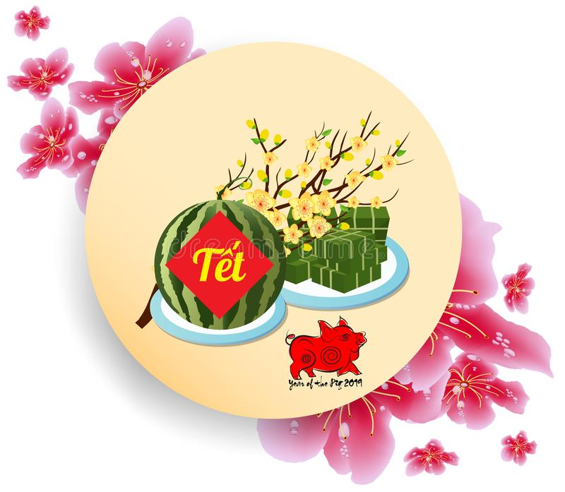 Cooked square glutinous rice cake and blossom, Vietnamese new year. Translation `Tết` : Lunar new year. royalty free illustration