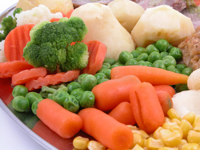 Cooked vegetables stock photo