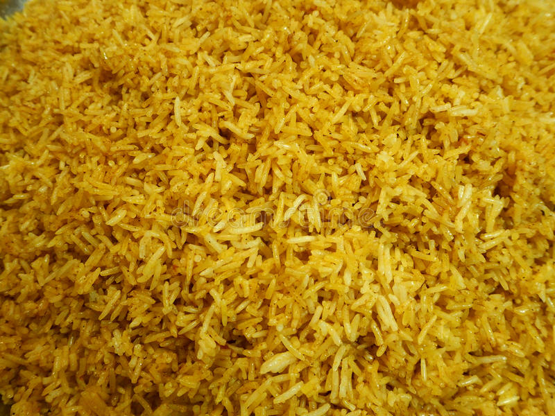 Cooked yellow rice. For eat stock photography