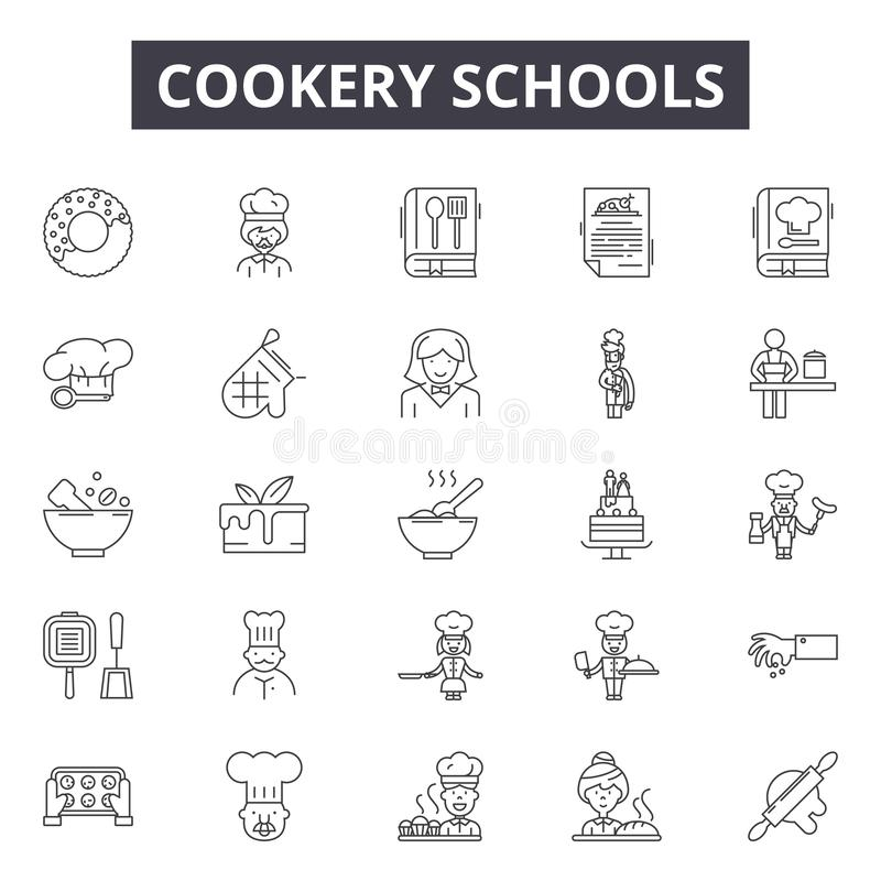Cookery schools line icons, signs, vector set, outline illustration concept vector illustration