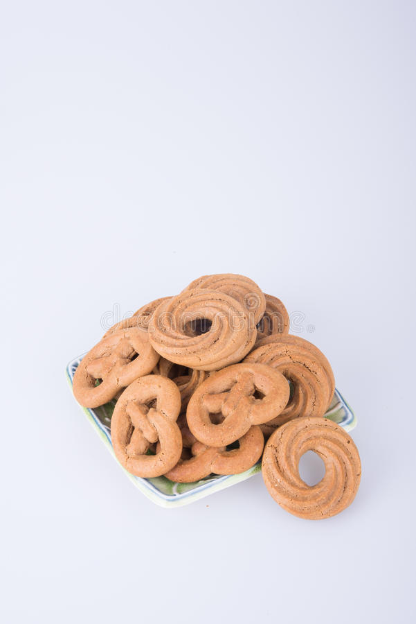 cookie or assorted cookies in plate on a background. royalty free stock photos