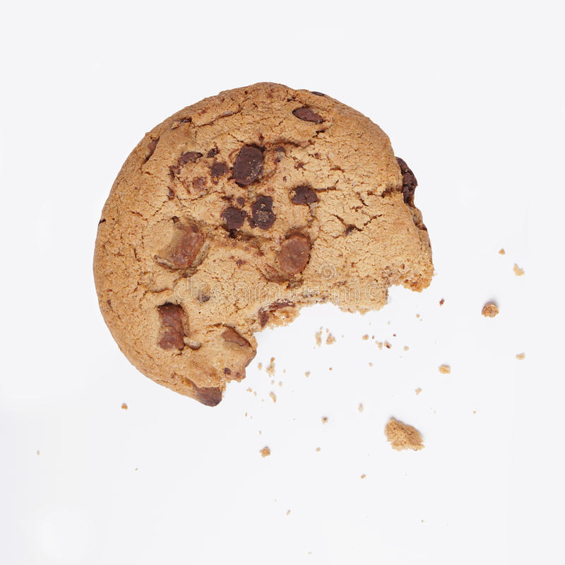 Cookie bitten into stock image