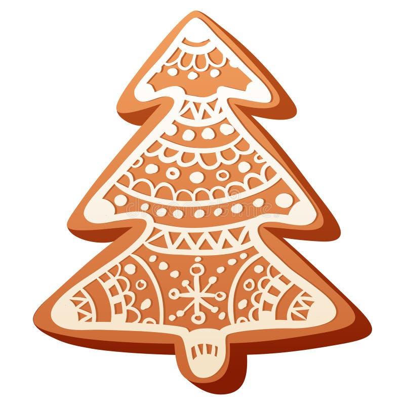 Cookie bonito do pão-de-espécie do Natal isolada ilustração do vetor