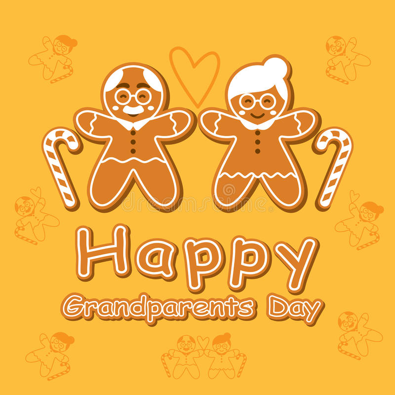 Cookie Cartoon Grandparents Day Card. Happy Grandparents Day. Cookie Cartoon Card. Background. Vector illustration stock illustration