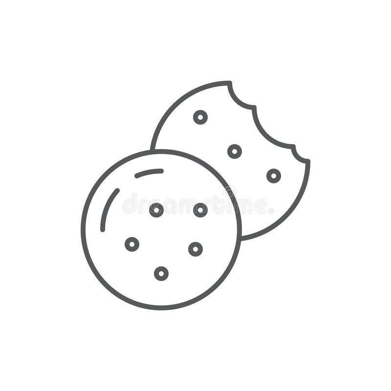 Cookie with chocolate chips editable line icon - bakery or confectionery pixel perfect vector illustration. vector illustration