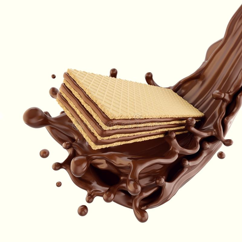 Cookie Chocolate wafer with chocolate syrup splashing. Crispy cookie Chocolate wafer Flavor with chocolate syrup splash on white background, 3d illustration vector illustration