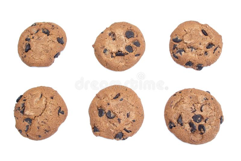 A cookie, cookies do chocolate isolou-se foto de stock