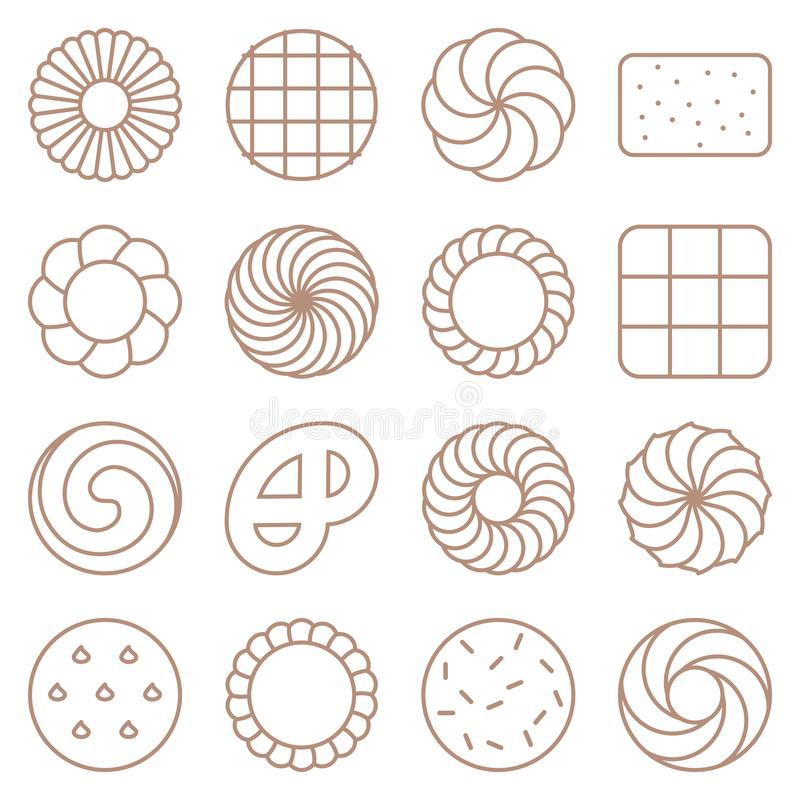 Cookie, cracker and biscuit outline icon set royalty free illustration