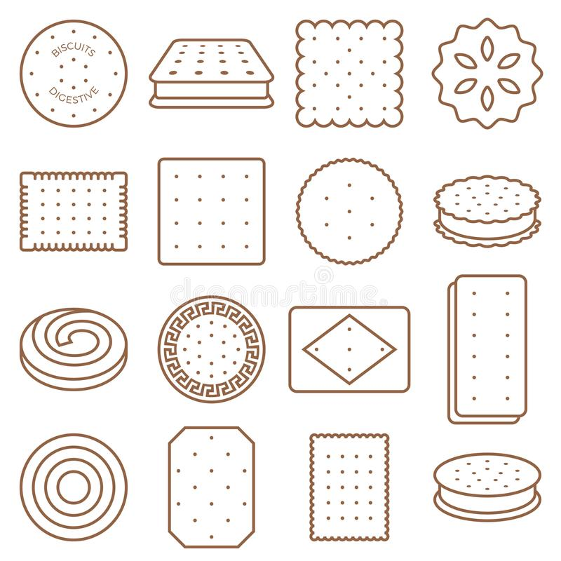Cookie, cracker and biscuit outline icon set stock illustration