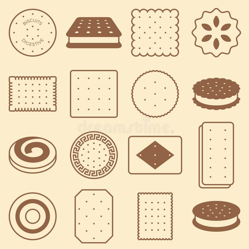 Cookie, cracker and biscuit, silhouette icon collection set vector illustration
