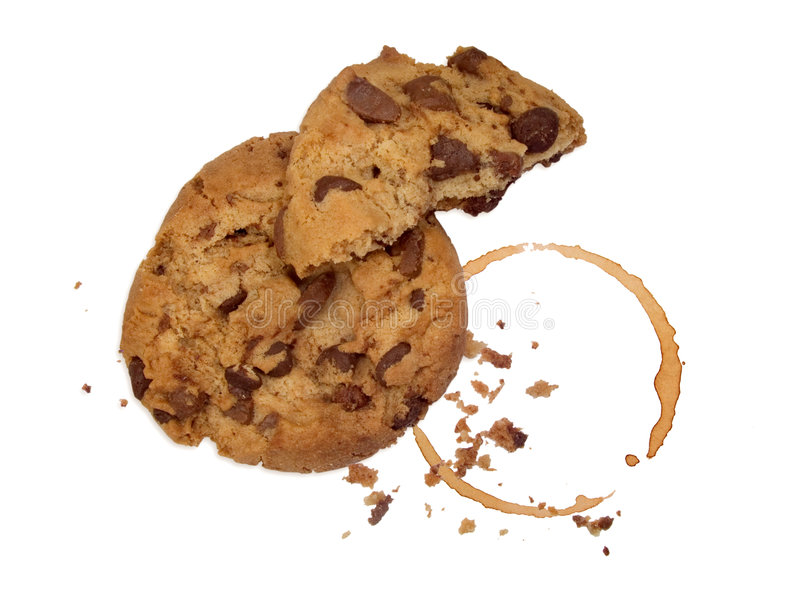 Download Cookie With Crumbs And Coffee Stock Photo - Image of isolated, biscuit: 2310942