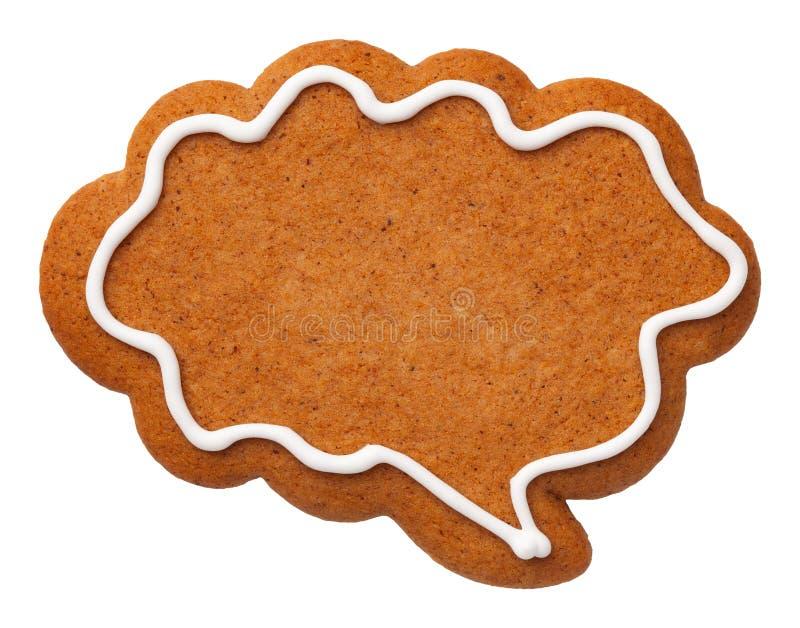 Cookie da nuvem do discurso do pão-de-espécie isolada no fundo branco fotografia de stock royalty free