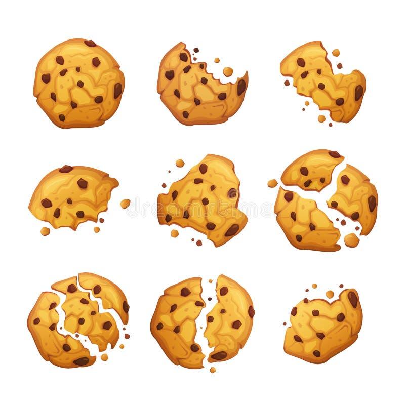 Cookie de farinha de aveia do vetor com as migalhas do chocolate isoladas no fundo branco Ilustração caseiro do vetor das cookies ilustração do vetor