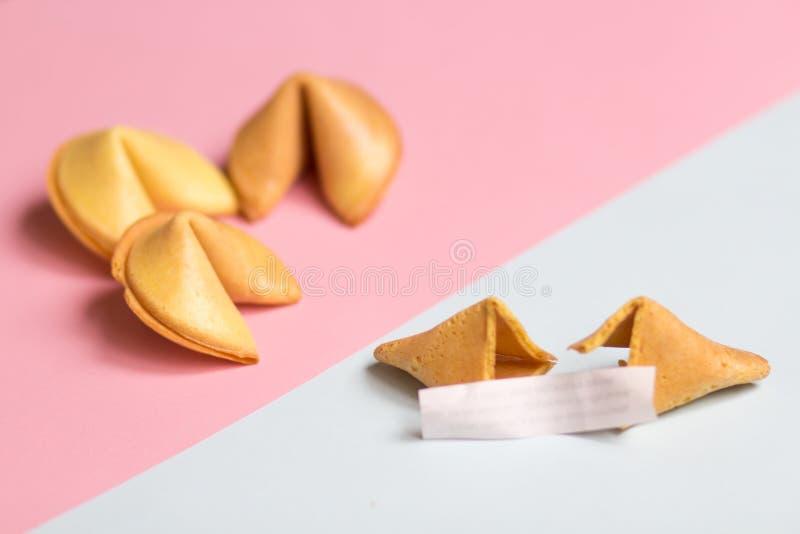 cookie de fortuna com a página vazia no rosa e no fundo azul, cores pastel imagem de stock
