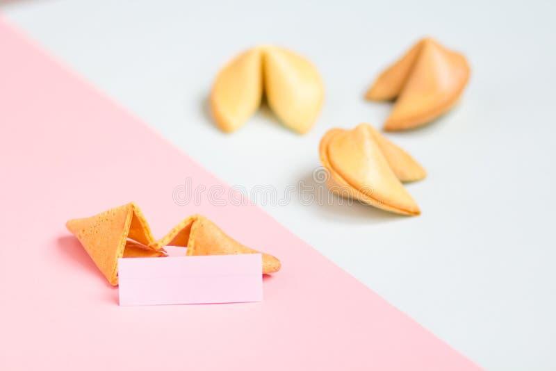 cookie de fortuna no rosa e no fundo azul, cores pastel, espaço da cópia fotos de stock