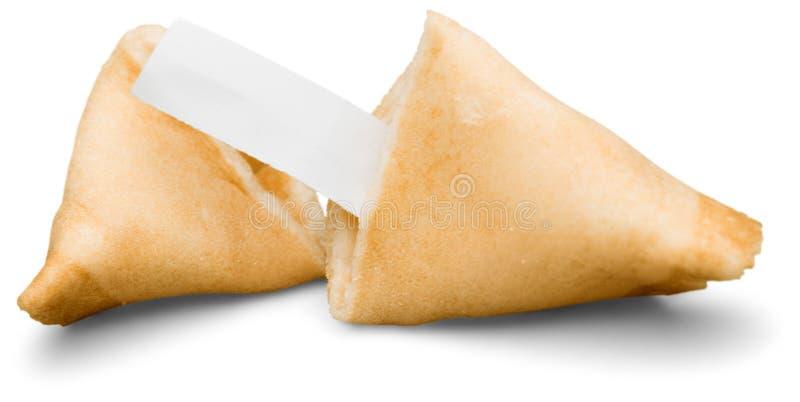 Cookie de fortuna quebrada com pedaço de papel vazio imagem de stock