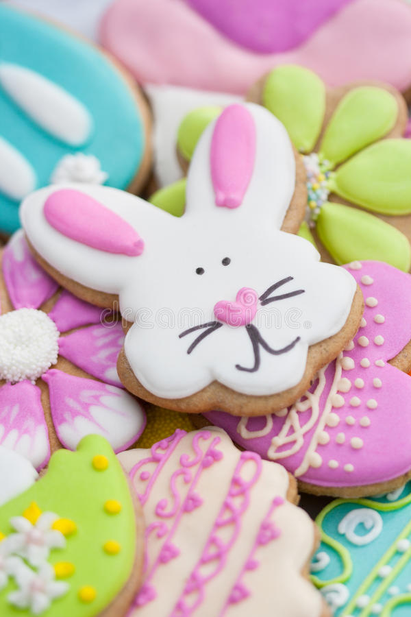 Cookie do coelhinho da Páscoa fotografia de stock