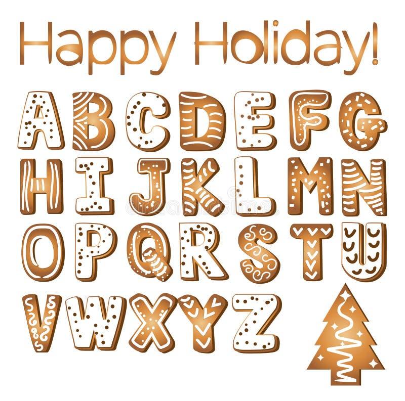 A cookie do gengibre dos feriados do alfabeto das cookies do pão-de-espécie isolou a ilustração do vetor da letra do xmas do bisc ilustração do vetor