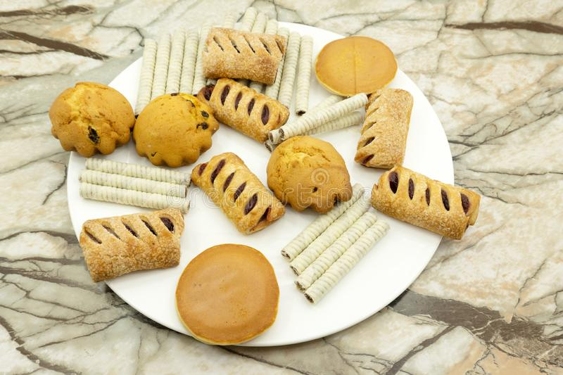 Cookie factory food industry Fabrication Cookie production royalty free stock photos